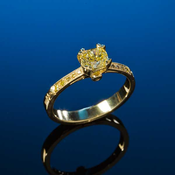 Canary Diamond Engagement Ring California Collectors