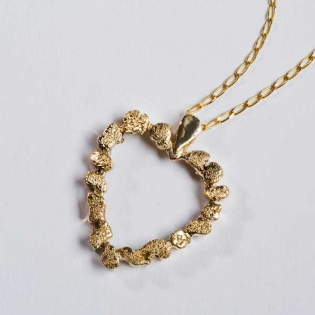 Gold Nugget Heart Pendant