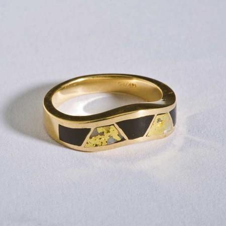 Gold Quartz Black Onyx Ring
