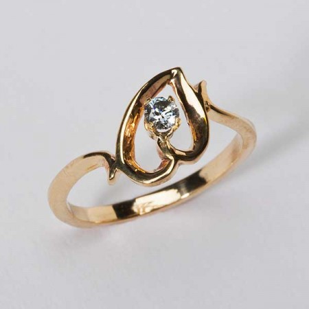 Gold Tilted Heart Ring