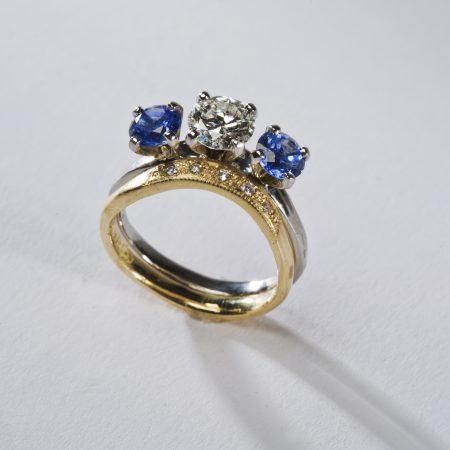 blue saphire ring set